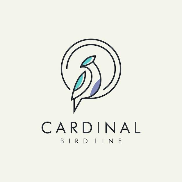 枢機birdの鳥の近代的なラインのロゴ Premiumベクター