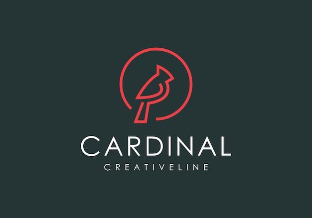ロゴの高級枢機bird鳥ラインアート Premiumベクター