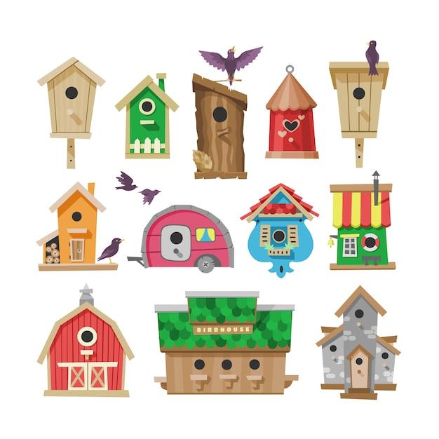 Birdhouse  cartoon birdbox and birdie wooden house illustration set of birds singing birdsongs in decorative house Premium Vector
