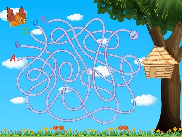 Birdhouseにフクロウを飛ぶゲームテンプレート 無料ベクター