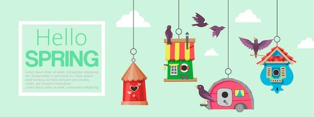 Birdhousesflying鳥のバナー。こんにちは春。木に吊るすネストボックス。 Premiumベクター