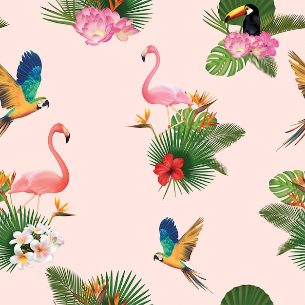Birds and palm tree leaves pattern background Premium Vector