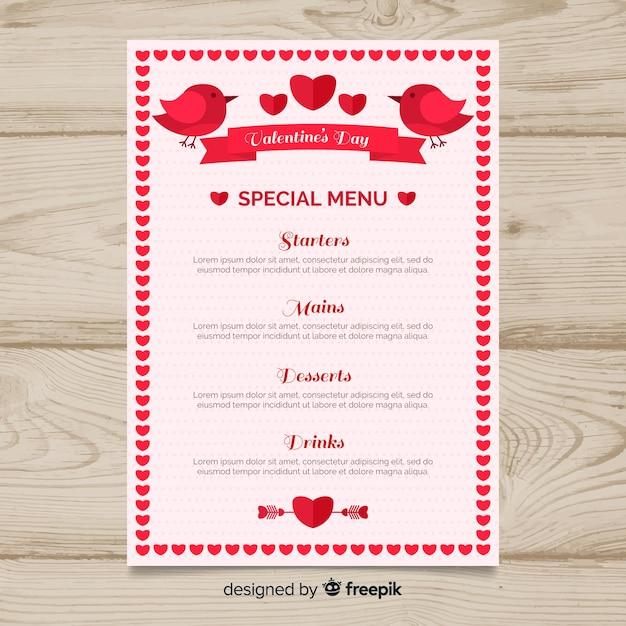 Birds and ribbon valentine menu template Free Vector