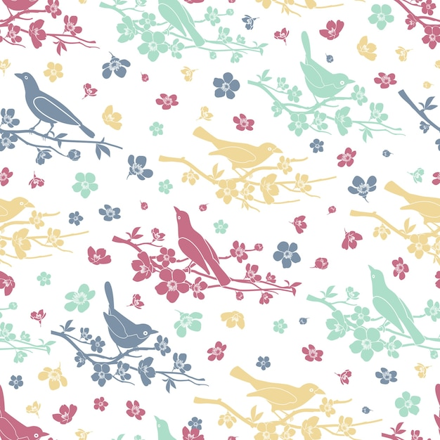 새와 나뭇 가지 완벽 한 패턴입니다. 꽃과 가지, 장식 사랑과 로맨틱, 디자인 꽃, 벡터 일러스트 레이션 무료 벡터