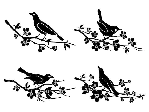 Uccelli sui rami. natura e animali, silhouette e fiori e fauna selvatica illustrazione vettoriale Vettore gratuito