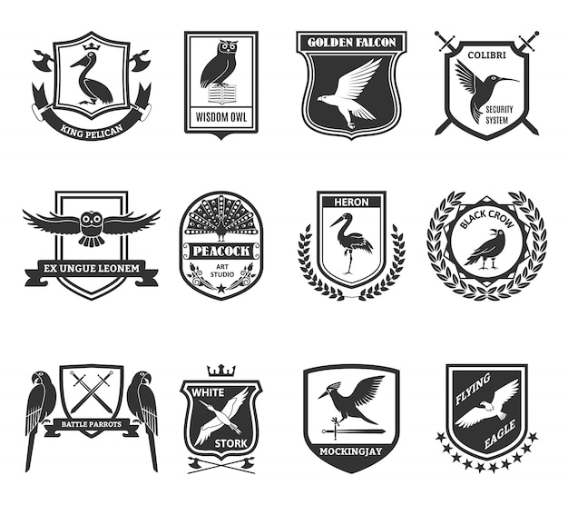 Birds emblems black icons collection Free Vector