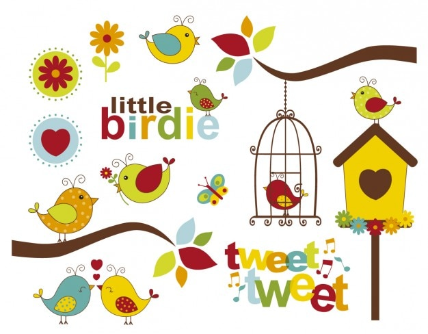 Birds everywhere Free Vector