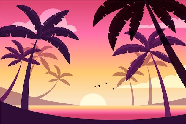 日没の背景に飛んでいる鳥 無料ベクター