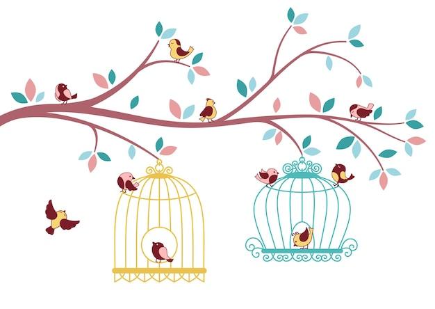 Птицы, вылетающие из клетки, ветка дерева. летящая птица и силуэт клетки. Premium векторы