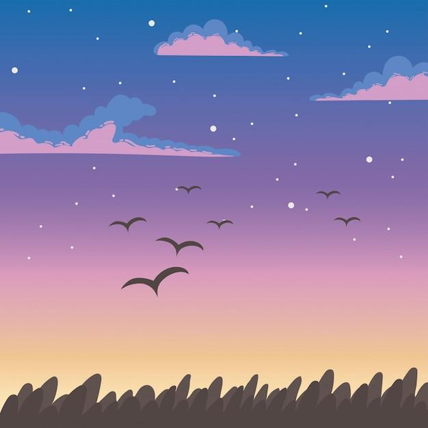 Birds flying at sunset Premium Vector