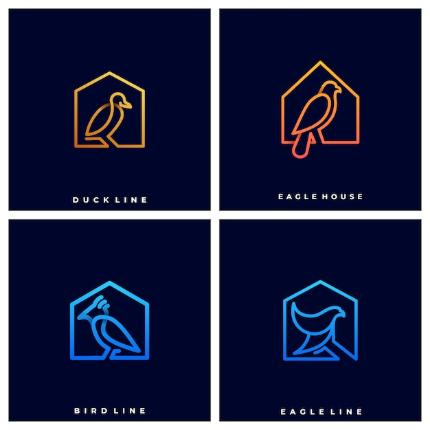 Birds on houses logo Premium Vector