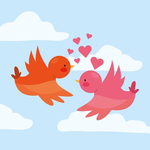 心と雲の間を飛んでいる愛の鳥。バレンタイン・デー。 Premiumベクター