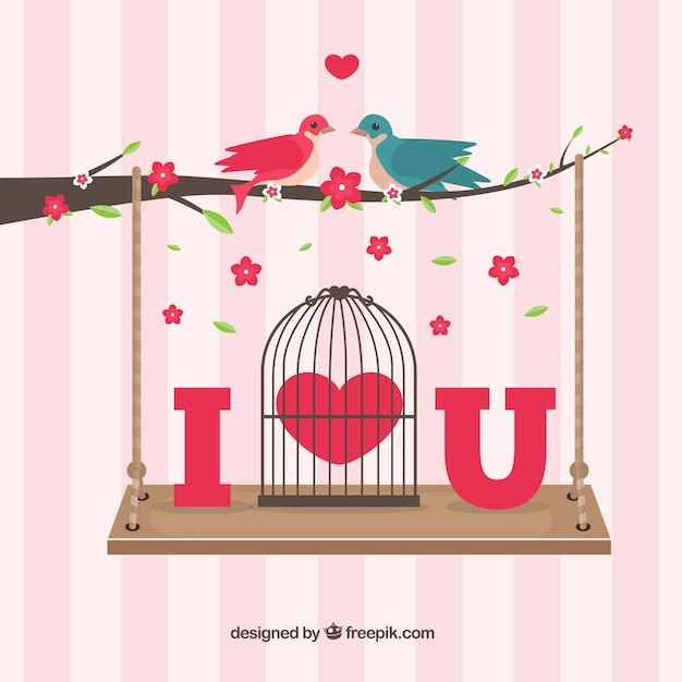 Birds in love on a branch with a swing Free Vector