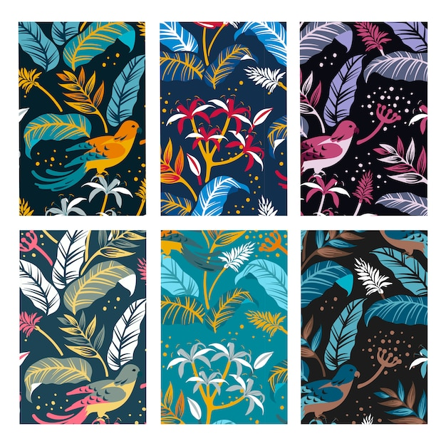 Birds in the nature design set Free Vector