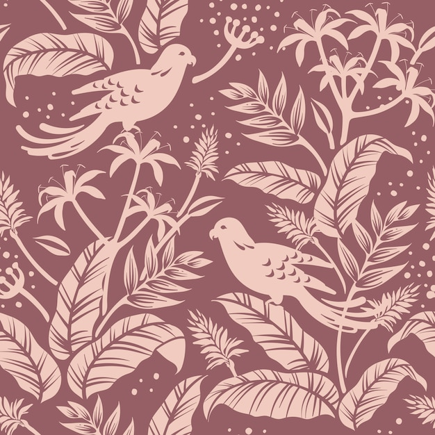 Birds in nature seamless patterned background vector Free Vector