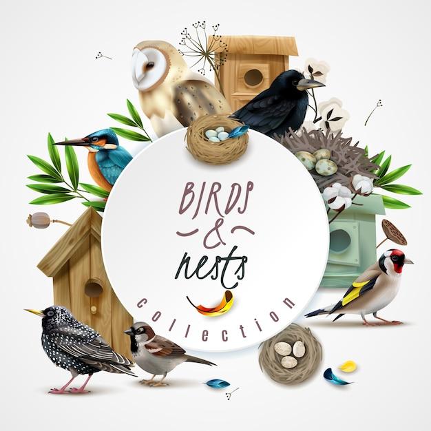 鳥の巣のフレーム構成の鳥の家の葉と編集可能なテキストのサークルスポットの画像 無料ベクター
