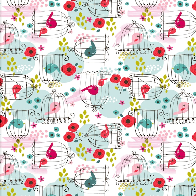 Birds pattern background Free Vector