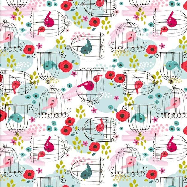 Birds pattern background Free Vector