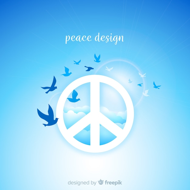 Birds peace sign background Free Vector