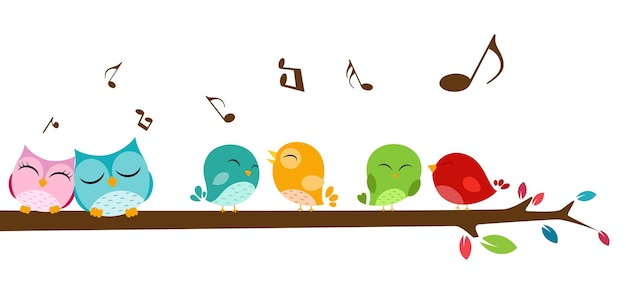 Birds singing on the branch Premium Vector