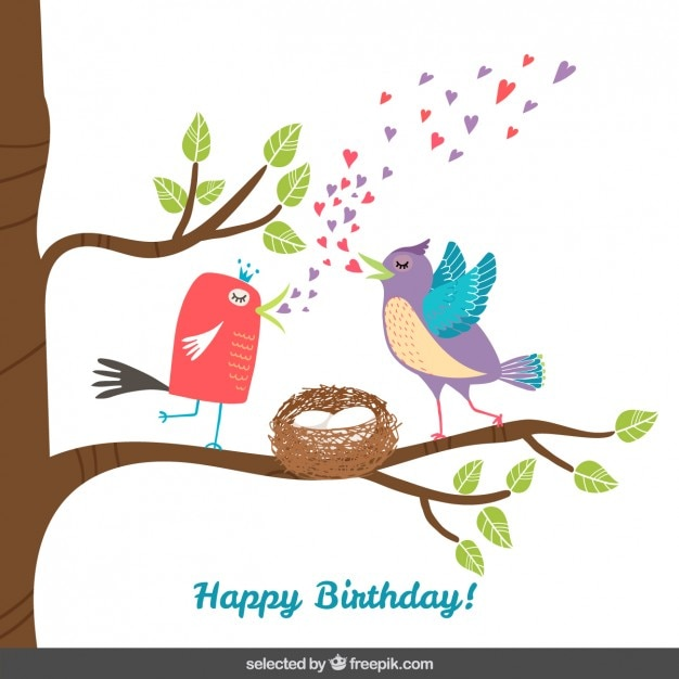 Birds on tree branch birthday card Free Vector