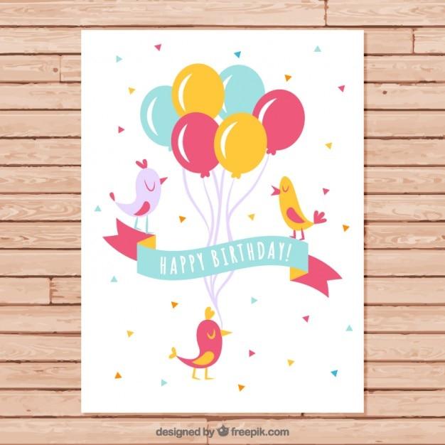 Birds with balloons birthday card Vector – Birthday Cards Balloons