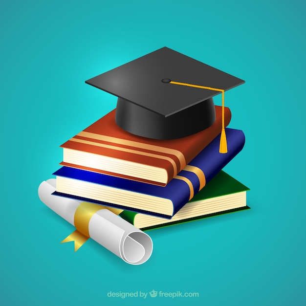 biretta on top of books background Free Vector