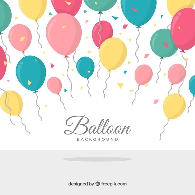 Birhtday風船の背景を祝う 無料ベクター