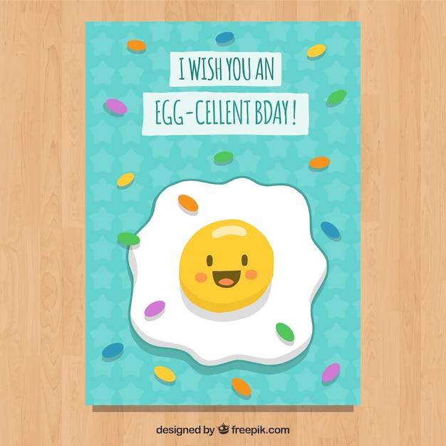 揚げ卵の漫画とbirhtdayカード 無料ベクター