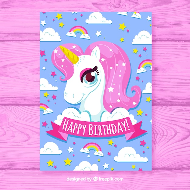 Birhtday card with unicorn in hand drawn style Free Vector