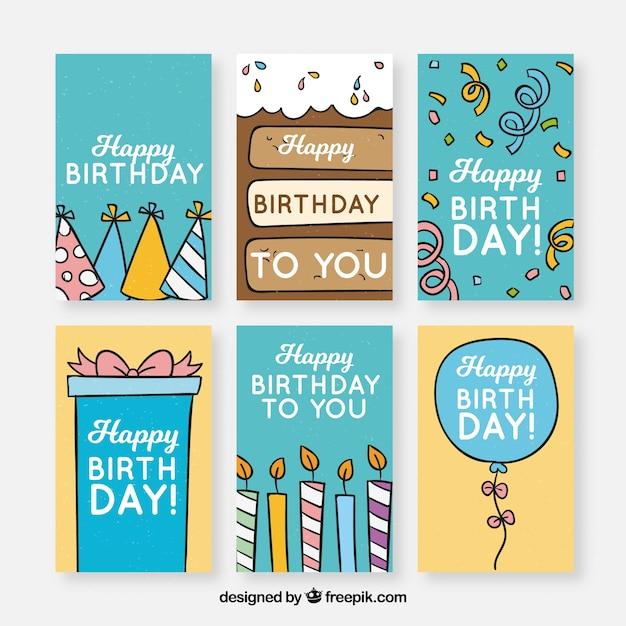 パーティー要素を持つbirhtdayカードコレクション 無料ベクター