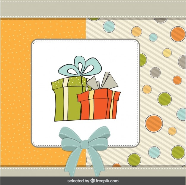 Birth card with hand drawn presents Free Vector