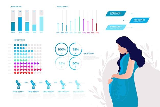 출생률 infographic 템플릿 무료 벡터