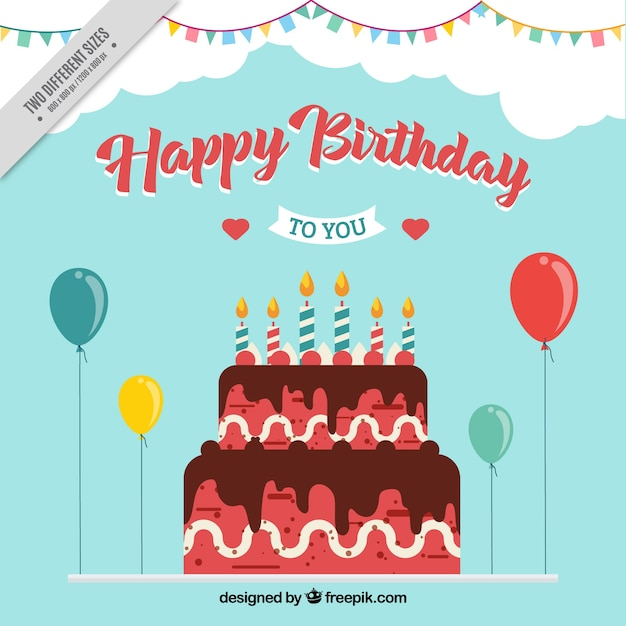Birthdat Cake With Balloons Background Vector Free Download