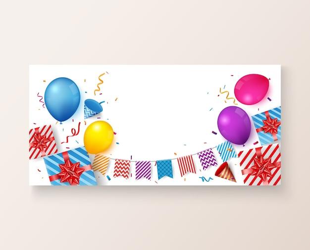 カラフルな風船と誕生日とお祝いのバナー Premiumベクター
