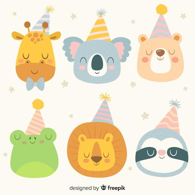 Birthday animal collection Free Vector