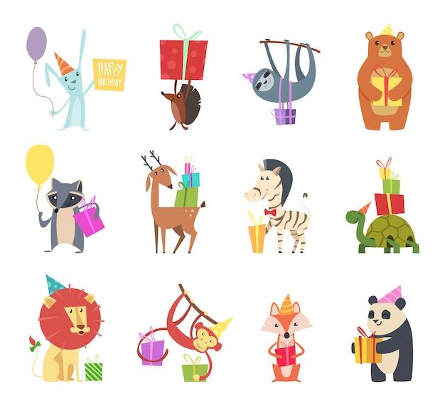 誕生日の動物。休日の幸せなお祝いノウサギハリネズミクマゼブラカメライオンと猿のお祝いギフト漫画の動物 Premiumベクター