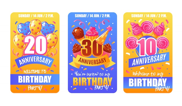 Birthday anniversary cards banners Free Vector