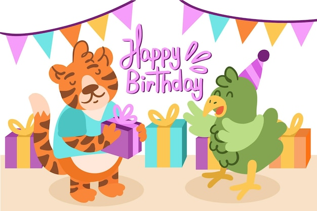 Birthday background draw Free Vector