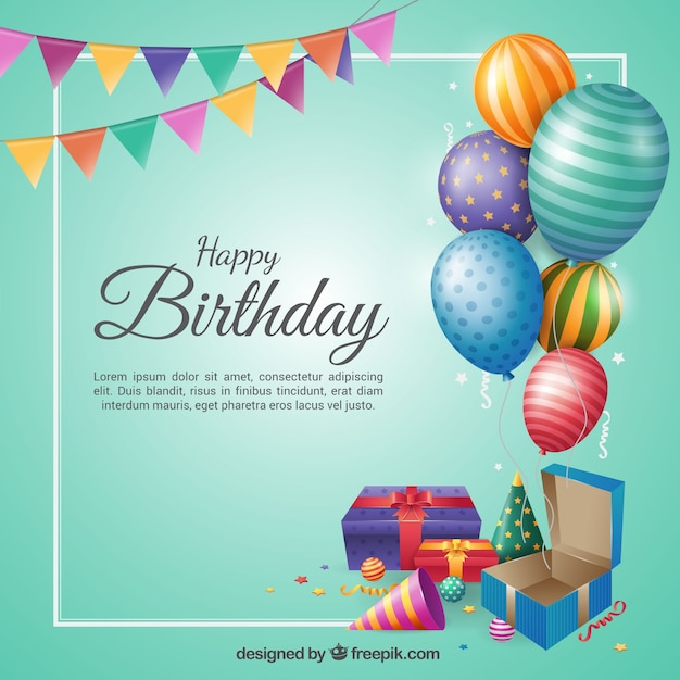 Birthday background in flat design Free Vector