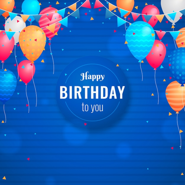 Birthday background in flat design Free Vector