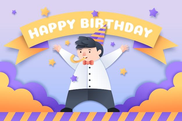 Birthday background flat design Free Vector