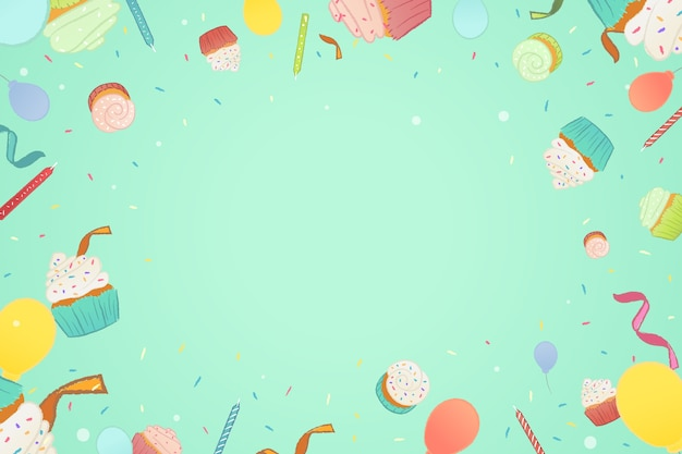 Birthday background flat style Free Vector