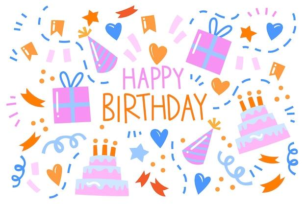 Birthday background hand drawn style Free Vector