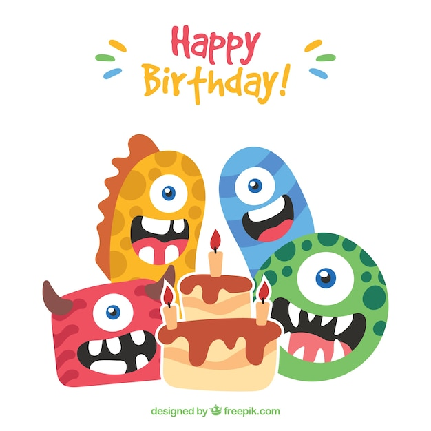 Birthday background of nice monsters Free Vector