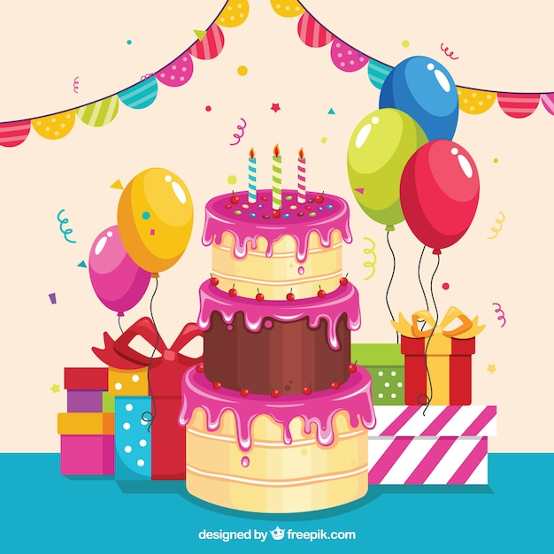Birthday background with a big cake Vector Free Download