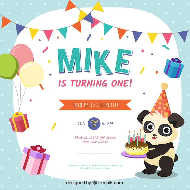 Birthday background with a panda vector free download birthday background with a panda free vector stopboris Images
