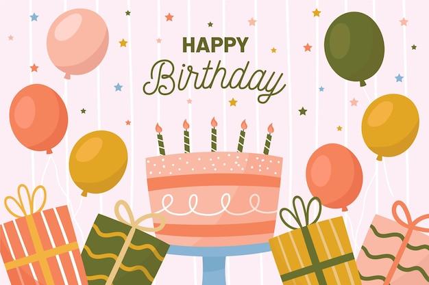 День рождения фон с воздушными шарами и тортом Бесплатные векторы