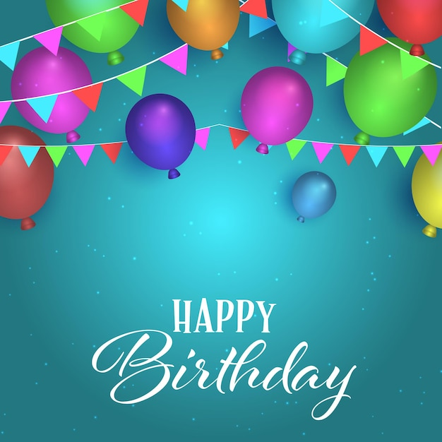 Birthday background with balloons and bunting design Free Vector