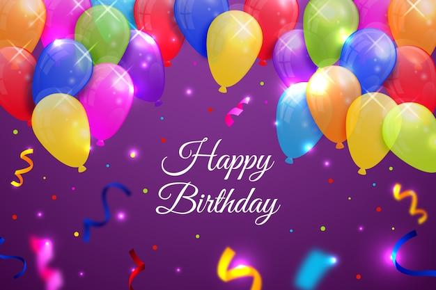 Sfondo di compleanno con palloncini e coriandoli Vettore gratuito
